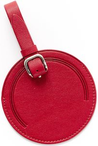 Apple Red Round Leather Luggage Tag