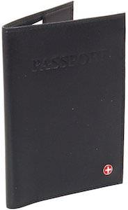 Alpine Swiss Black Leather Passport Cover