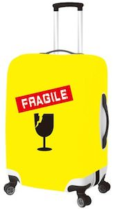 Yellow Fragile Suitcase Cover