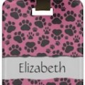 Pink Paw Print Luggage Tag