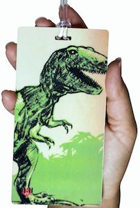Dinosaur Luggage Tag With a T-Rex
