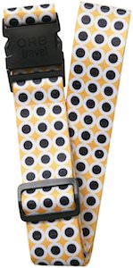 Mustard Colored Luggage Strap With Black And White Dots
