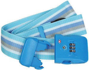 Light Blue Luggage Strap With TSA approved Combination Lock