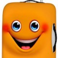 cute Orange Smiling Face Suitcase Cover