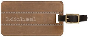 Leather look personalized luggage tag