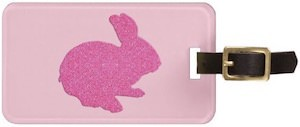 Pink Bunny Rabbit Luggage Tag