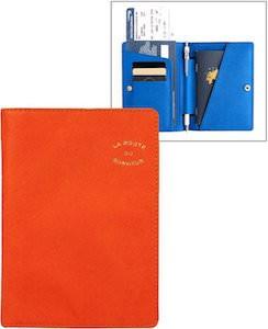 Orange And Blue Passport And Document Holder