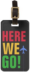 Here We Go! Airplane Luggage Tag