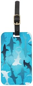 Swimming Sharks Luggage Tag