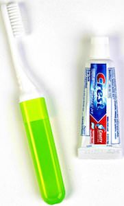 Travel Toothbrush And Small Tube Of Toothpaste