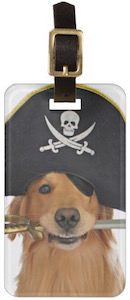 Golden Retriever Pirate Luggage Tag