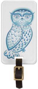 Blue Owl Luggage Tag