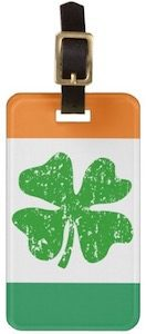 Irish Flag And Shamrock Luggage Tag