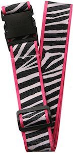 Pink And Black And White Animal Print Luggage Strap