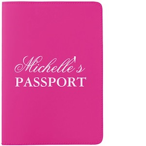 Personalized Pink Passport Cover
