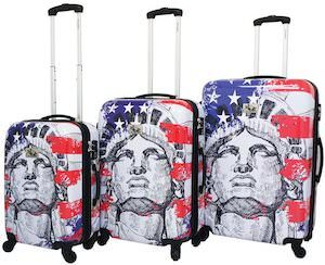US Flag And Liberty Suitcase Set