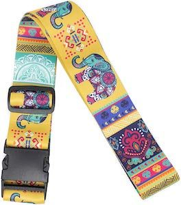 Yellow Luggage Strap With Elephants