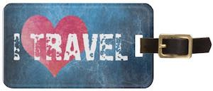 Worn Looking I Love Travel Luggage Tag