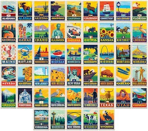 50 US States Sticker Pack