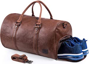 Fake Leather Travel Duffle Bag With Shoe Pouch