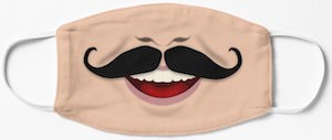 Smiling Mustache Face Mask