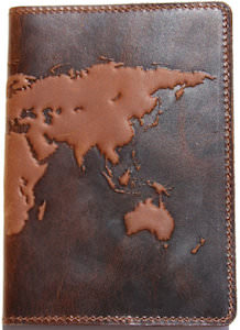 Premium Leather World Map Passport Cover