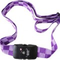 Purple suitcase strap with lock