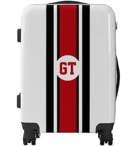 Black And Red Striped Monogram Suitcase