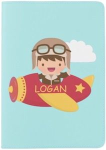 Personalized Cute Airplane Passport Cover