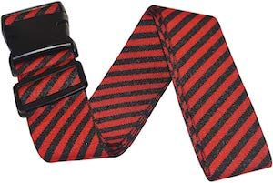 Red And Black Striped Luggage Strap