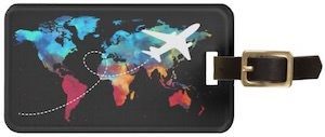 Plane Flying The World Luggage Tag