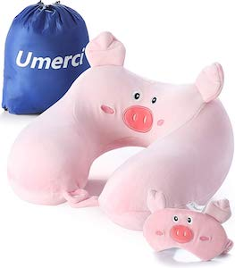 Pig Travel Pillow and Eye Mask