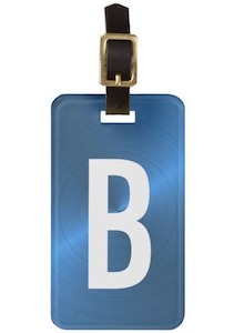 Metallic Look Monogram Luggage Tag