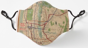 1954 New York Subway Map Face Mask