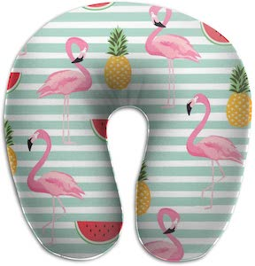 Flamingo And Summer Foods Neck Pillow